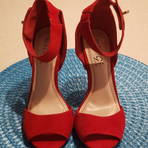 7 1/2  NWOT SUEDE  RED ROUGE HELIUM PUMPS